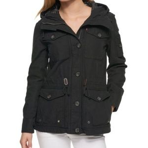 NWT Levi's Black Quilted Long Military Jacket
